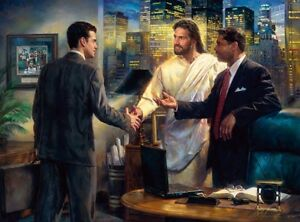 Nathan-Greene-THE-SENIOR-PARTNER-30x40-S-N-Canvas-Giclee-Jesus-with-Businessman