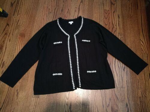 Joan Rivers Knit Cardigan Faux Pearl Crystal Ruffl