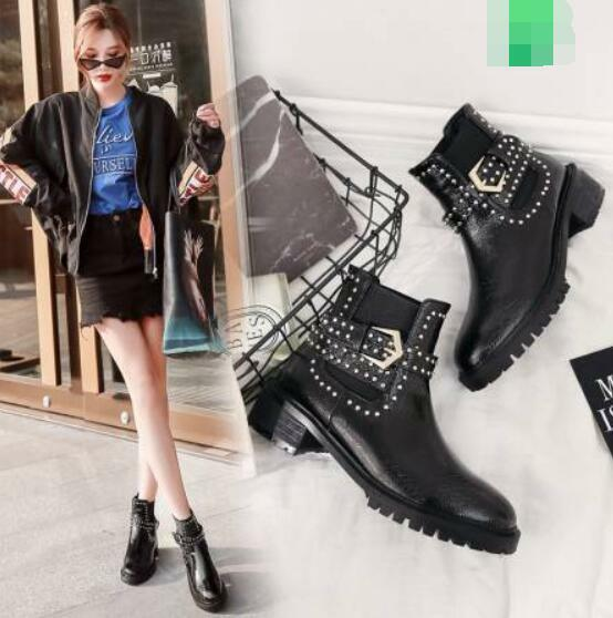 Womens Ladies Fashion PU Studs Buckle Strap Elasticated Ankle Boots shoes XUNL