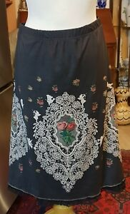 79d9aadee9 Image is loading Michal-Negrin-Lovely-Lace-Midi-Skirt-XXL-Romantic-