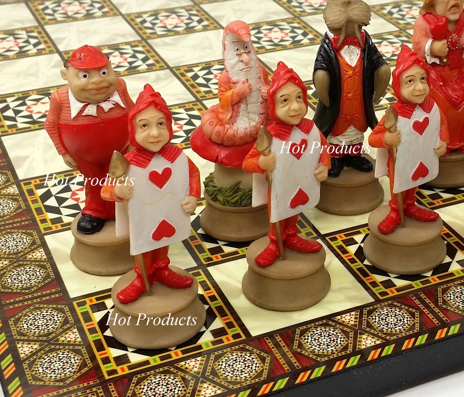 Alice in Wonderland Fantasy Chess Set W  14 1 2  Mosaic Colore Board