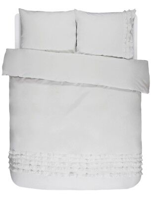Essenza Bettwäsche Metze Anthracite 135 155 200 Baumwolle Unifarben Rüschen