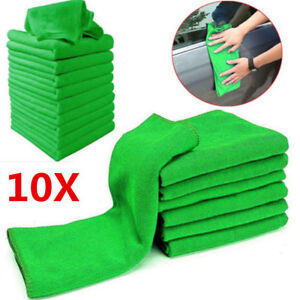10-x-Green-CAR-CLEANING-DETAILING-MICROFIBER-SOFT-POLISH-CLOTHS-TOWELS-LINT-FREE