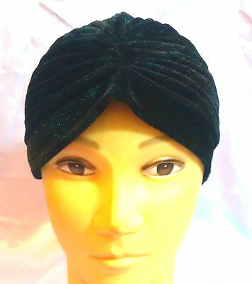STRETCHY LADIES TURBAN HAT VELVET PLEATED HEAD BAND WRAP HAIR COVER CHEMO CLOCHE