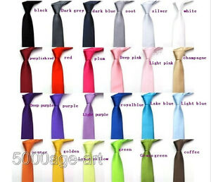 British-Style-Men-039-s-Plain-Slim-Narrow-Arrow-Necktie-Skinny-Tie-Neckwear-U-Pick