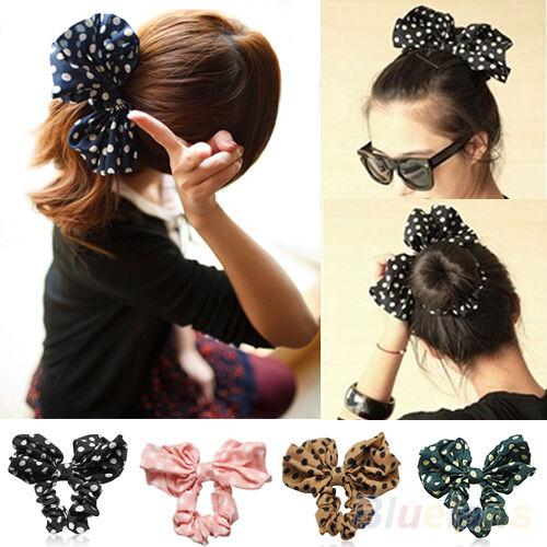 Women's Smart Big Rabbit Ear Polka Dot Bow Ponytail Holder Hair Tie Band