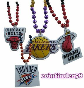 NBA-Mardi-Gras-Sport-Beads-With-Medallion-Necklace-Pick-Team