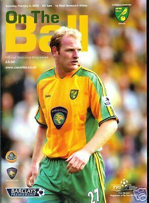 programme, 05.02.05 Norwich City v WBA, FREEPOST