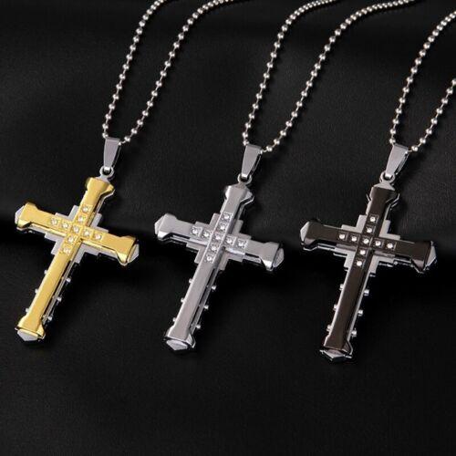 Männer Kristall Kreuz Strass Anhänger Punk Edelstahl Halskette Kette Schmuc q2w