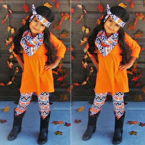 4PCS Infant Kid Baby Girl Halloween Long Sleeve T Shirt Pants Headband Scarf Set