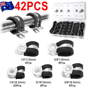 Set-42X-EPDM-Rubber-Lined-P-Clips-Cable-Hose-Pipe-Clamps-Holder-Air-Clip-Clamp
