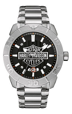 Harley-Davidson Men's Bulova Watch, Embossed Bar & Shield Stainless Steel 76B169