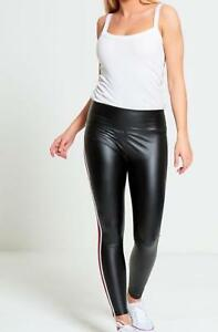 New Womens Side Stripe High Waist Shiny Leggings PVC Wet Look Pants