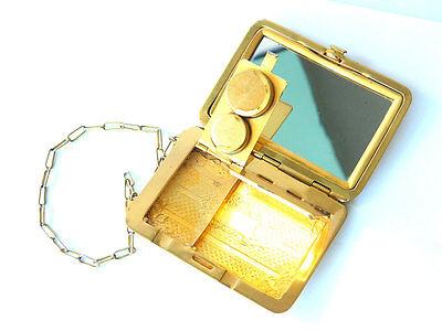 ca.1900s Hinged Brass Powder Box Compact w/ Mirror and Coin Dispenser, Austria