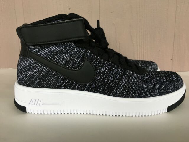 newest 41e5c a9c0d Nike AF1 Air Force 1 Ultra Flyknit Mid GS Big Kids Black White SZ 5-