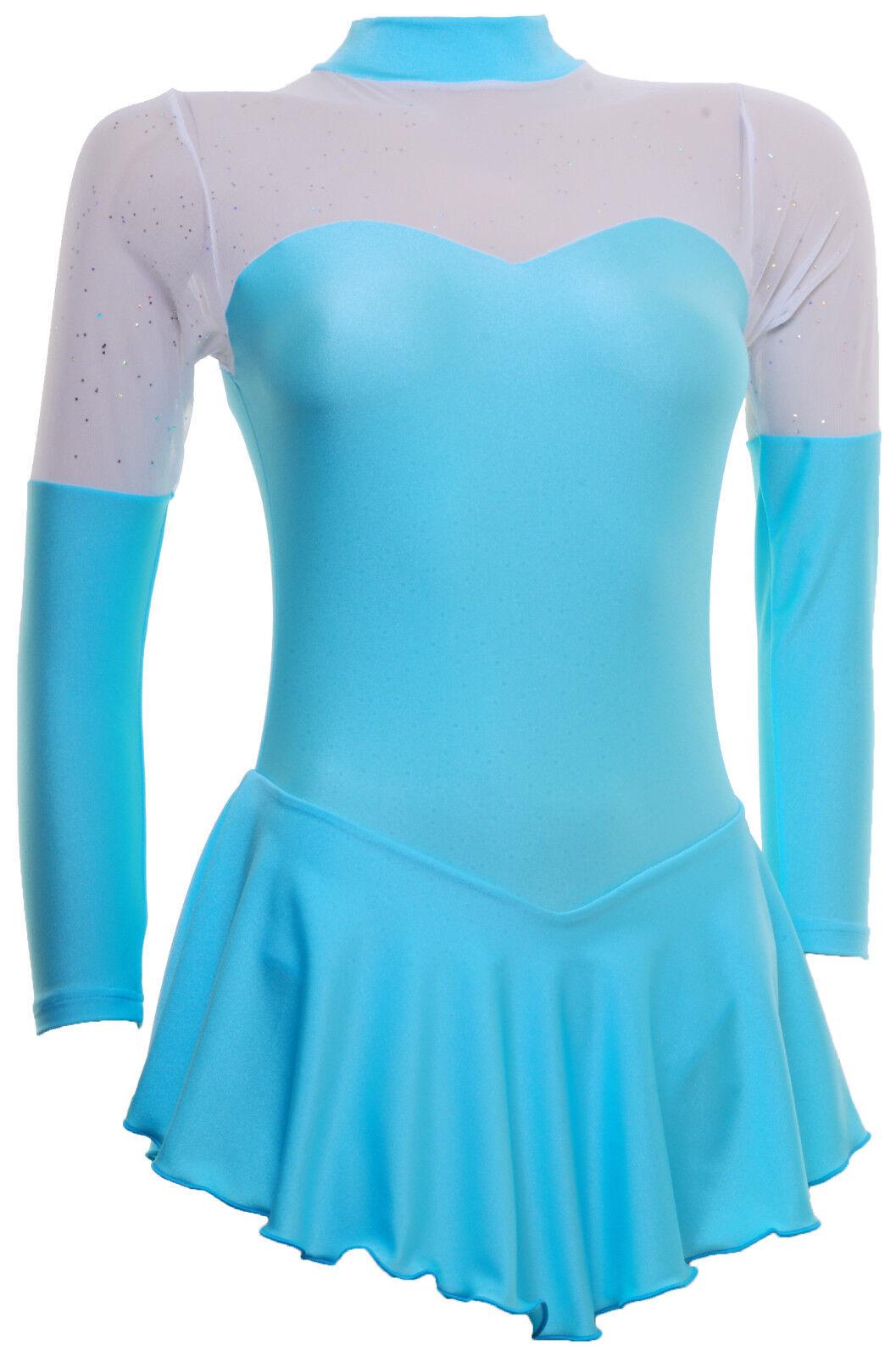 Skating Dress -AQUA LYCRA GLITTER MIST -LONG SLEEVE  ALL SIZES AVAILABLE