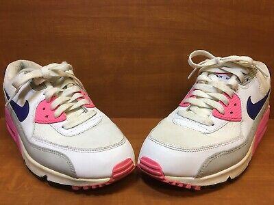 Nike AIR MAX 90 Essential WhiteConcordGreyPink 616730 104 Women's Size 10 | eBay