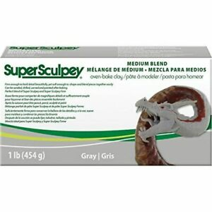 Sculpey-Ssmed1-Clay-Grey-Medium-Super-Blend-Clay-1lbgray-Pound-454gr-Oven