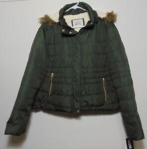 in Giacca Maralyn sintetica verde scuro Me sintetica con in pelliccia cappuccio pelliccia Nuovo xqa0w5Rar