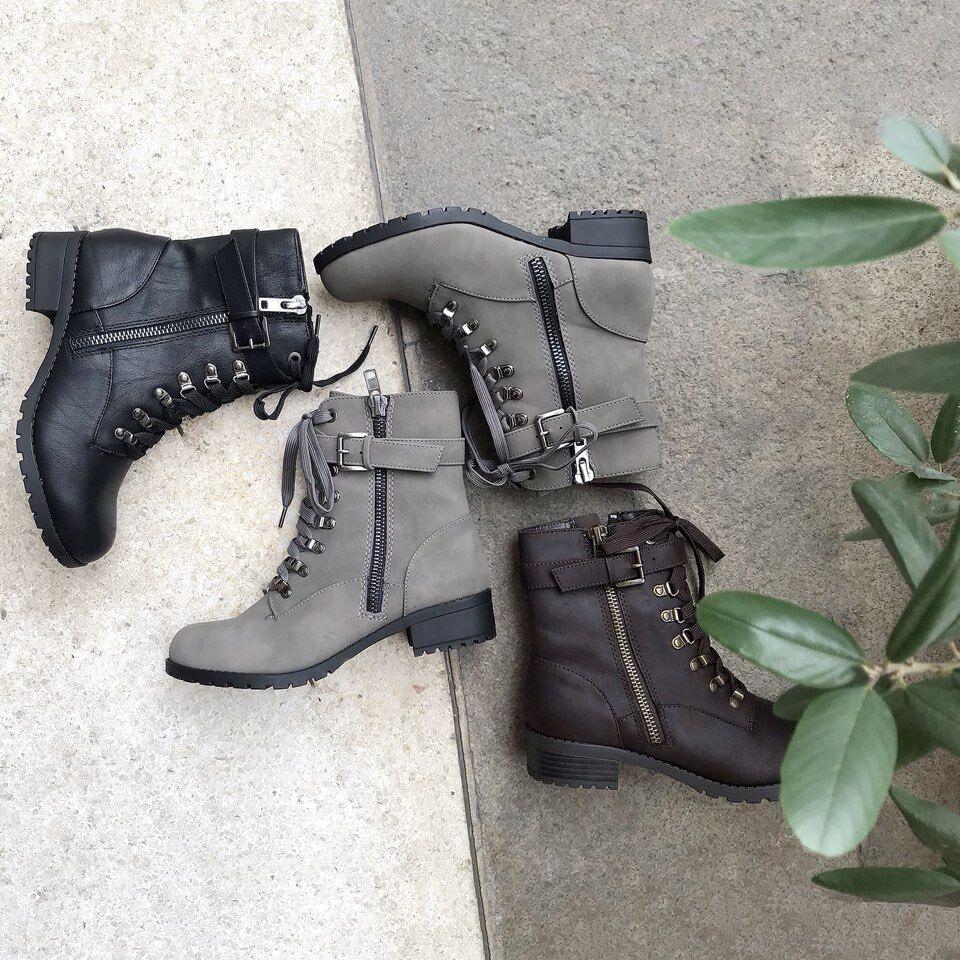 Other Women's Short Zipper Combat Army Boots Booties