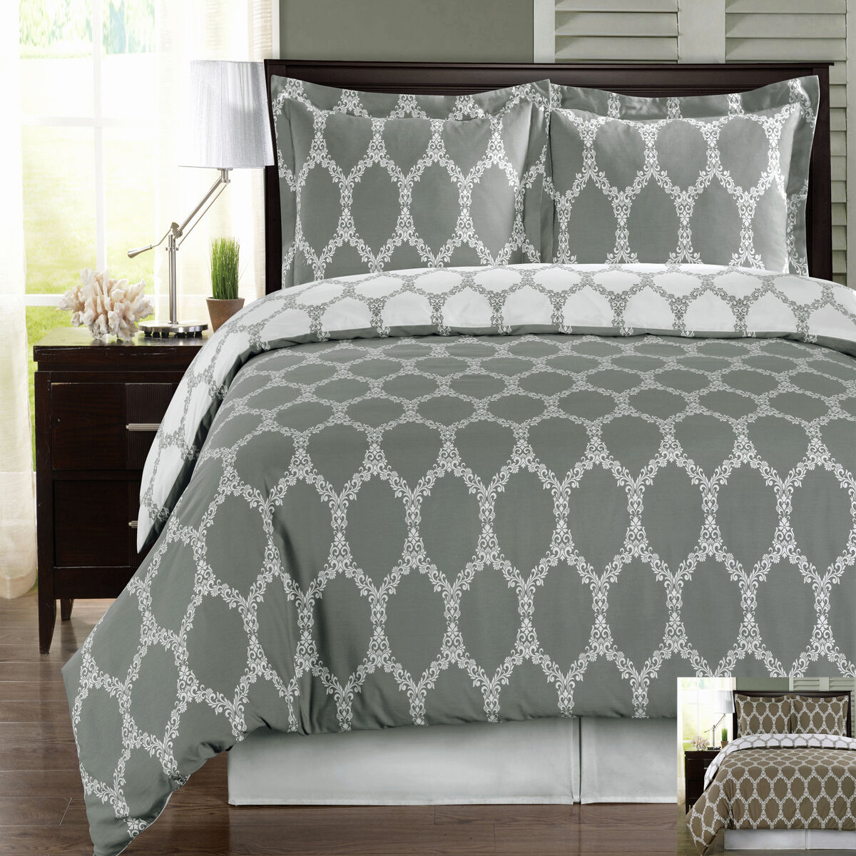 3PC Brooksfield Combed Cotton Duvet Cover Set 300 Thread Count-Reversible
