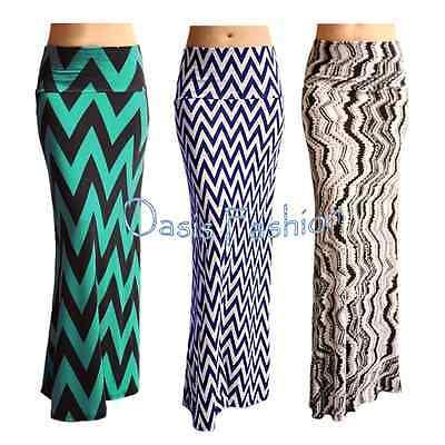 WOMENS Fold over Stretch Maxi Mermaid flare Various prints Stripes S M L XL