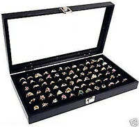 72 Ring Glass Top Display Case Jewelry Black Organizer