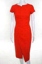 Antonio Berardi Orange Short Sleeve Button Detailed SlimFit Midi Sheath Dress 38
