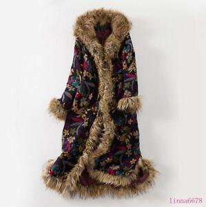 2019 ethnique vestes col capuchon Femmes de occasionnels longues fourrure rétro manteaux tendance à wARB7Xq