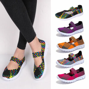 Handmade-Women-039-s-Sneakers-Breathable-Slip-On-Walking-Shoes-Woven-Stretch-Mesh