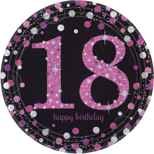 8 Paquets Rose Brillant Célébration 18 Anniversaire Prismatique Papier Assiettes