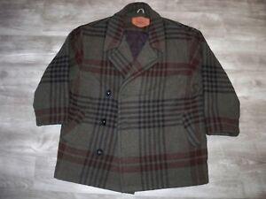Vintage-Woolrich-Plaid-Pea-Coat-Jacket-Wool-Blanket-Hunting-Work-Mens-Size-Large