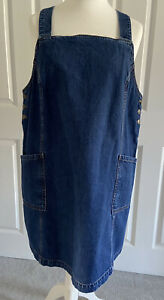 Fat Face Denim Dungeree Dress Size 18 Pinafore Pockets Plus Size