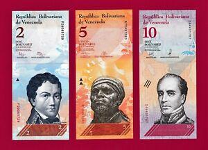VENEZUELA-UNC-BANKNOTES-2-Bolivares-2012-5-Bolivares-2013-amp-10-Bolivares-2018
