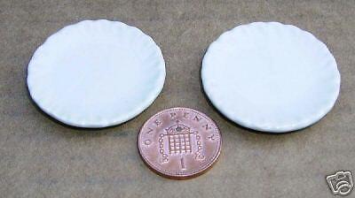 1:12 escala 2 placas de cerámica blanca 3.5cm tumdee Casa De Muñecas Accesorio de Cocina W16