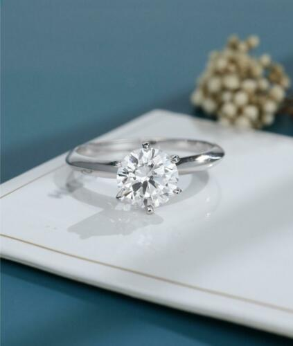 Details about  /D//VVS1 1.00 Ct Round Cut White Moissanite Engagement Ring 14K White Gold Plated