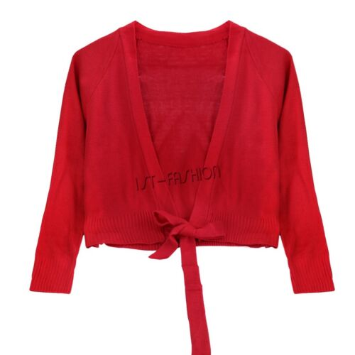 Kids Girls Knit Ballet Gymnastics Wraps Top Cardigan Dance Wear Sweaters Dress