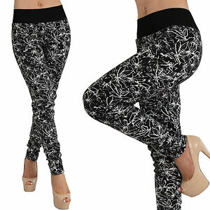 Thermo-Stretch-Hose-breiter-schwarzer-Bund-Teddy-Fell-Treggings-Leggings-Blaetter
