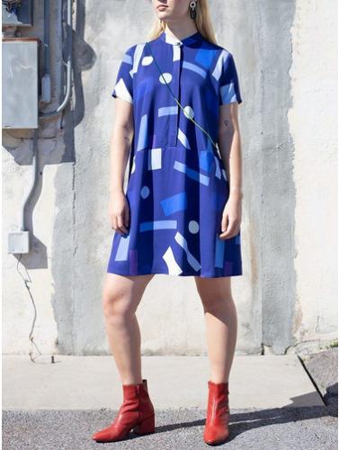 DUSEN DUSEN Sz M Oversize Tee Dress Blue Mobile Pr