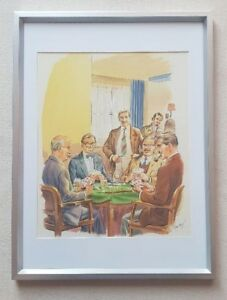 Leo-Rawlings-1918-1984-original-signed-water-colour-painting-The-Game-of-Cards