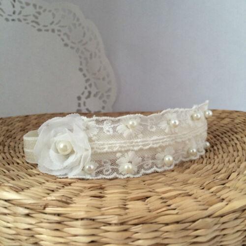 baptism ivory baby hair band wedding christening tiara handmade Lace headband