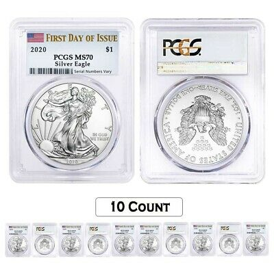 First Day Label 2020 1oz Silver Eagle PCGS MS70 3 Pack