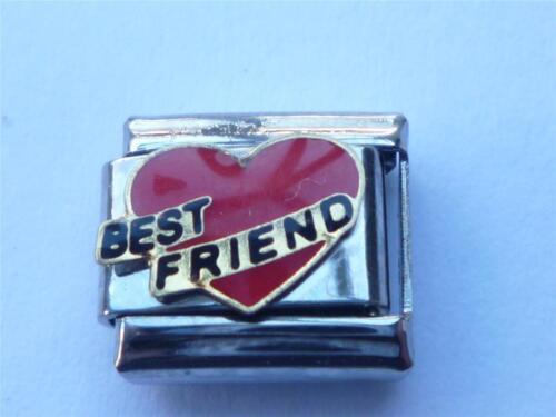 SILVER BEST FRIEND HEART ITALIAN  CHARM LINK  fits all 9mm Italian bracelet AH9