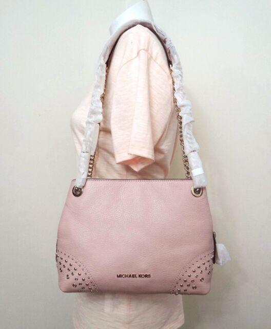 966fe2fe142b Michael Kors Jet Set Chain Studded Handbag Pastel Pink Leather Shoulder Bag