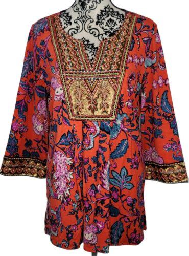 Details about  /SOFT SURROUNDINGS Samara Tunic Top Beaded 3//4 Sleeve Floral Orange Petite L PL