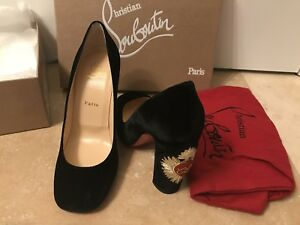 e6f0c8be0bf5 Image is loading Christian-Louboutin-Cadrilla-Black-Velvet-100mm-Pumps-Size-
