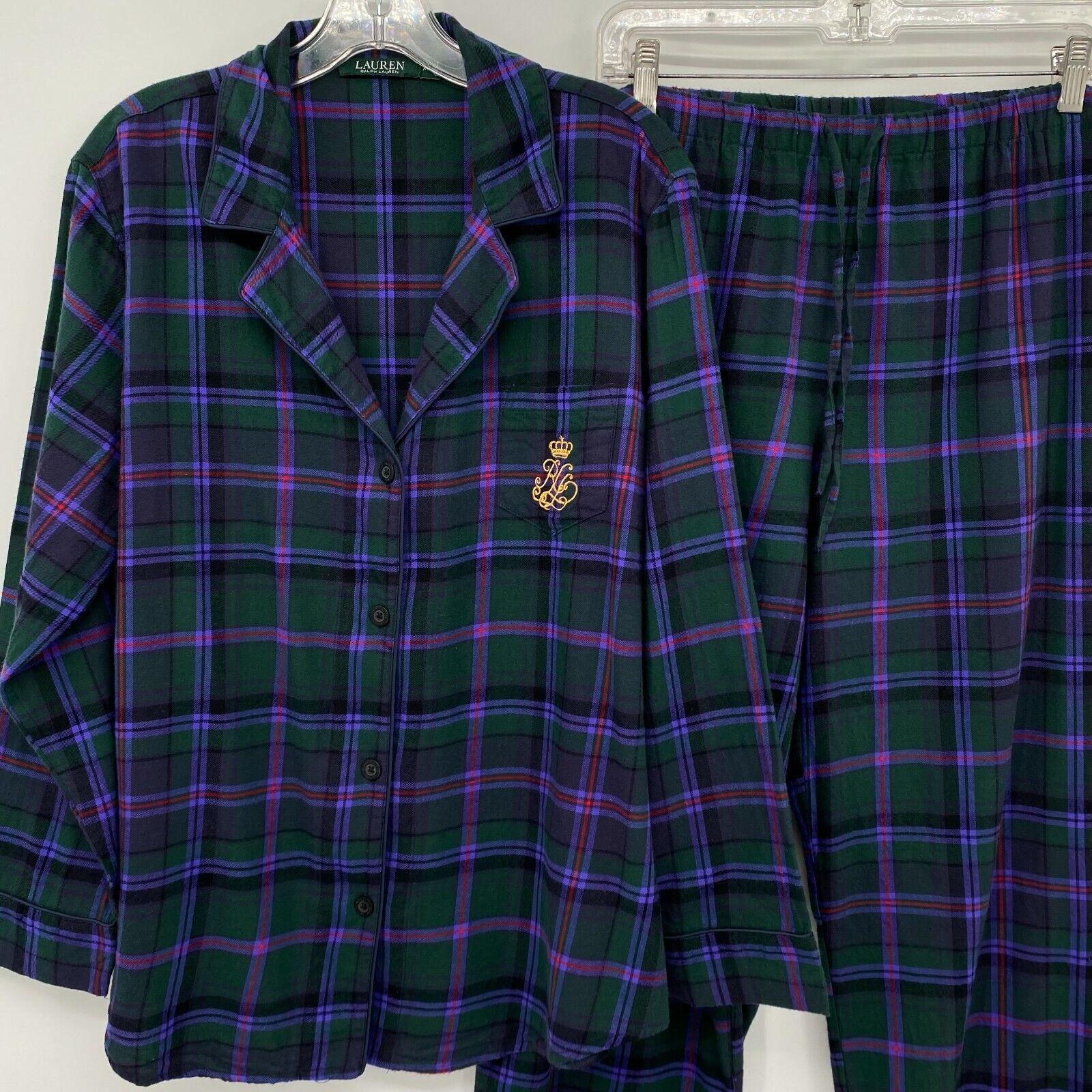 Lauren Ralph Lauren XL Green Plaid Top Pants Paja… - image 1