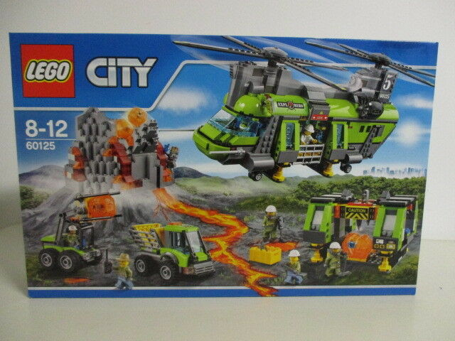 LEGO CITY 60125 ELICOTTERO DA CARICO PESANTE VULCANICO with 8 minifigures