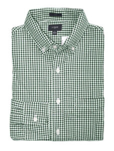 J-Crew-Factory-Men-039-s-S-Slim-Fit-Green-Micro-Gingham-Washed-Cotton-Shirt