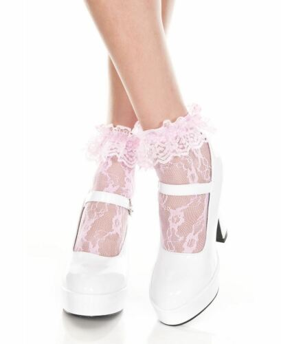New Music Legs 574 Lace Ruffle Ankle High Socks